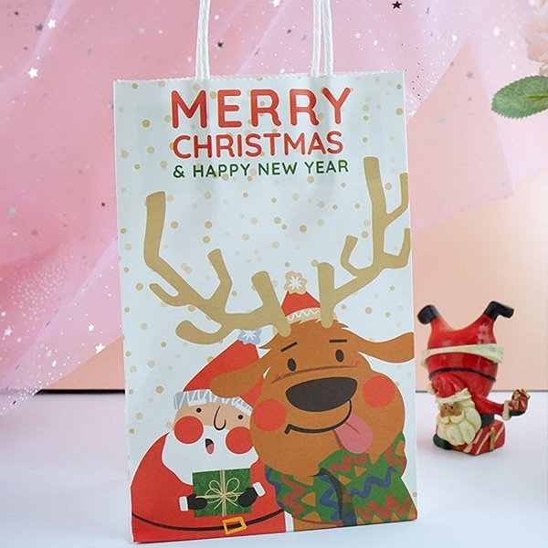 【BlueCat】聖誕節 白底麋鹿吐舌裝可愛 手提紙袋