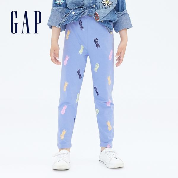 Gap女童 輕薄彈力印花針織褲 697329-灰藍色