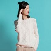 羊毛針織衫-圓領純色花紋寬鬆保暖女毛衣3色73uj32【巴黎精品】