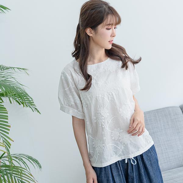 【慢。生活】繡花肌理純色上衣 1931-1 FREE白色