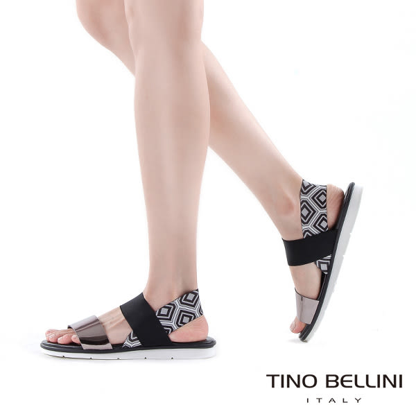 Tino Bellini 義大利進口抽像美學平底涼鞋(黑)_B63026  2016SS歐洲進口款