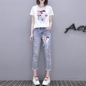 歐洲站夏裝女2019新款亮片短袖T恤 破洞九分牛仔褲套裝時尚兩件套