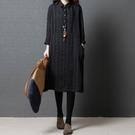 春裝新品1件85折 中國風 韓版寬鬆大碼 文藝范復古 條紋亞麻連身裙-不含配飾