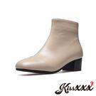 時尚小方頭純色拼接皮革粗跟短靴 米 *K...