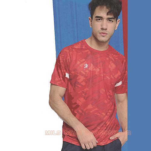 MILD STAR 男女吸濕排汗印花圖騰短T恤-紅#AS801601