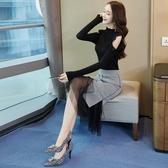 秋冬針織連身裙秋季女新款女神范衣服氣質套裝裙裙子兩件套裝Mandyc