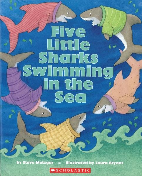 【麥克書店】FIVE LITTLE SHARKS SWIMMING IN THE SEA /英文繪本
