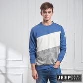 【JEEP】簡約漸層拼接長袖TEE (藍)