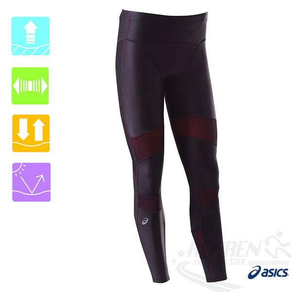 ASICS  亞瑟士 男 全長緊身褲RF   (黑/紅) 體軸調整壓縮褲  XA3525-9023  【胖媛的店】