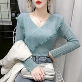 女裝春秋長袖v領t恤女2020年秋裝新款針織衫上衣服秋冬內搭打底衫 Korea時尚記
