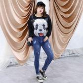 中大尺碼~修身褲腳刺繡牛仔褲(XL~4XL)