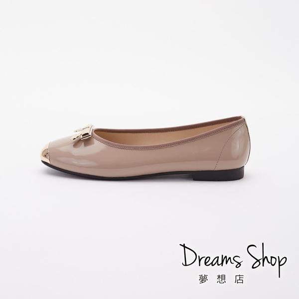 大尺碼女鞋-夢想店-MIT台灣製造牛漆皮金屬方頭平底鞋1cm(41-45)【JD2712】可可色