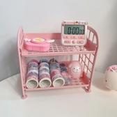 桌面置物架 少女心放映室 粉色桌面雙層收納架 化妝品寢室小物品收納置物架
