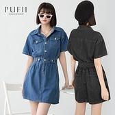 現貨◆PUFII-洋裝 翻領襯衫式縮腰牛仔洋裝- 0427 春【CP20181】