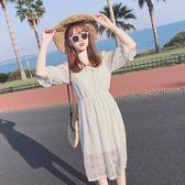 白色收腰中長款修身顯瘦短袖裙子正韓女裙  名購居家