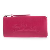 LONGCHAMP Le Foulonne浮雕賽馬logo荔枝紋皮革L型拉鍊長夾(桃紅色)480806-018