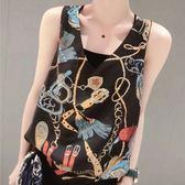 歐洲站2019春夏裝新款V領時尚印花雪紡吊帶背心無袖上衣女夏大碼
