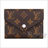 LV M62360 VICTORINE經典花紋LOGO Monogram帆布6卡扣式短夾(芭蕾粉)