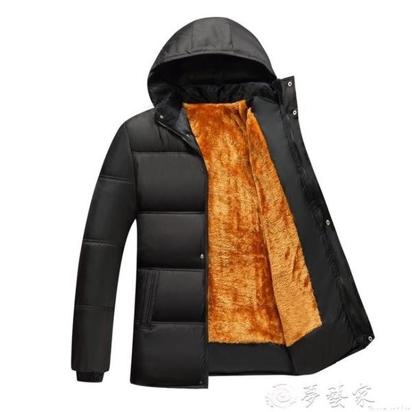爸爸外套 男裝加絨加厚棉服秋冬款中年男士棉衣外套冬季中老年人爸爸裝棉襖 夢藝