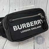 BRAND楓月 BURBERRY 8021089 黑色 黑底 尼龍 白字 白色大LOGO 腰包 胸包