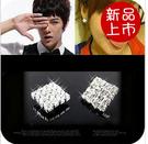 ►滿鑽閃鑽簡約方形氣質款耳釘 耳飾 耳環 【B1027】