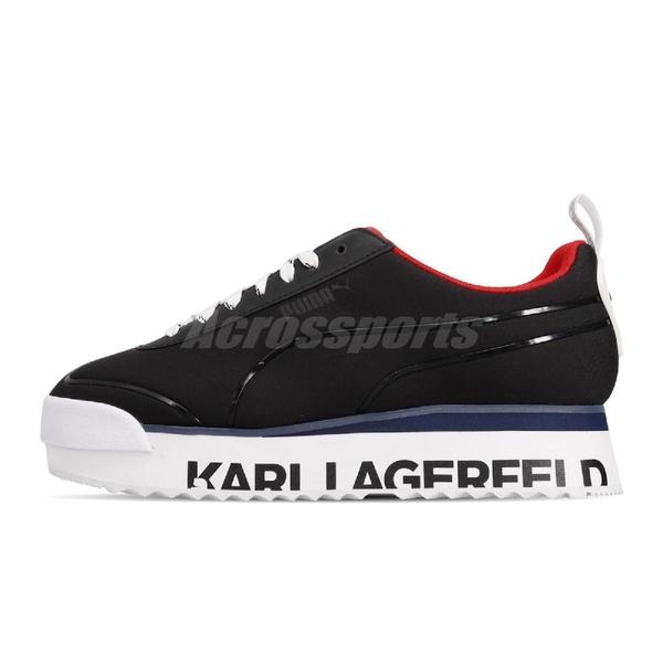 Puma 休閒慢跑鞋 Roma Amor Karl 黑 白 女鞋 大LOGO設計 老佛爺 運動鞋 【ACS】 37005601