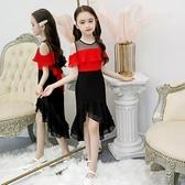 女童禮服 中大童女童拖尾魚尾公主洋裝子洋氣禮服兒童裝夏裝夏季雪紡紅黑 Ballet朵朵
