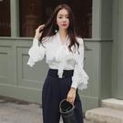 歐媛韓版 春夏新款女裝修身荷葉邊蝴蝶結系帶氣質ol職業韓國襯衫 上衣潮