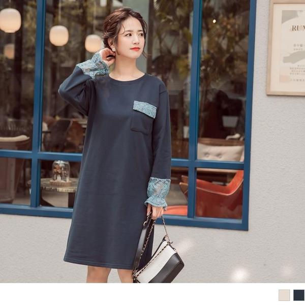 《DA8074-》臧芮軒。高含棉異材質蕾絲布拼接鬆緊荷葉袖洋裝 OB嚴選