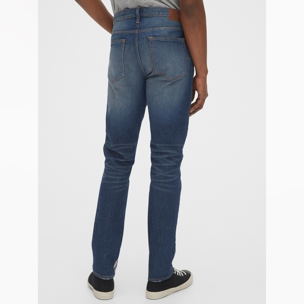 Gap男裝做舊水洗五口袋牛仔褲537757-藍色