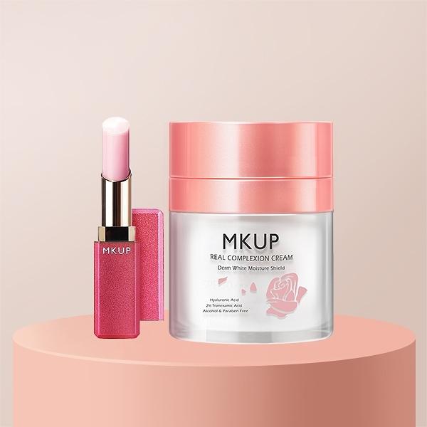 【一袋X王推薦】裸素美顏粉嫩唇1+1組 粉嫩美唇精華潤唇膏+賴床美白素顏霜(30ML)
