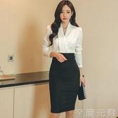 秋季新款氣質ol職業修身顯瘦包臀假兩件套裝春秋長袖洋裝女 至簡元素