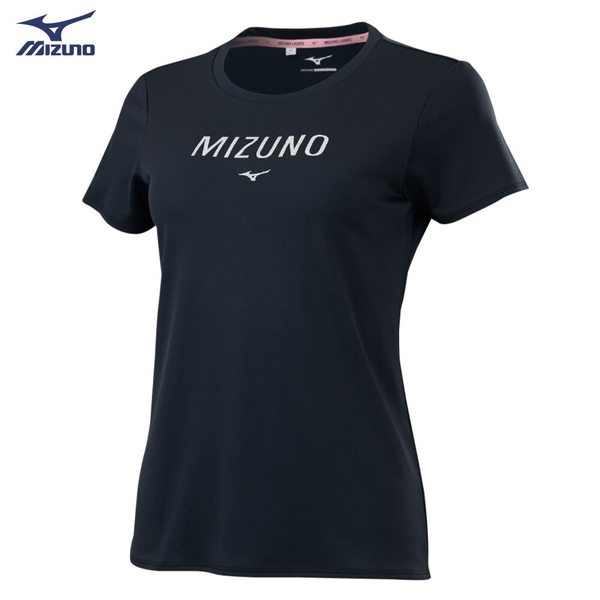 MIZUNO 女裝 短袖 T恤 吸汗快乾 抗紫外線 咖啡砂抗臭 黑【運動世界】32TA120109