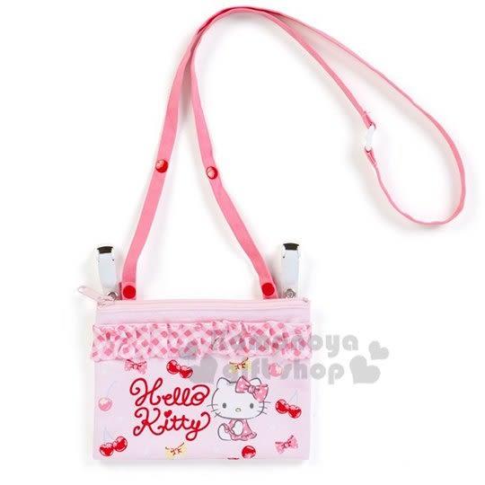 〔小禮堂〕Hello Kitty 日製兒童棉質夾式口袋包《粉.花邊櫻桃》腰包.斜背包.零錢包 4901610-79009