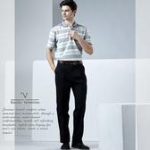 【Emilio Valentino】范倫鐵諾品味雙摺彈性棉料休閒褲_黑
