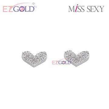 Miss Sexy銀飾♥真愛♥銀飾耳環(白)