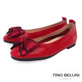 Tino Bellini 雙色織帶蝴蝶結平底娃娃鞋_ 紅 B83262
