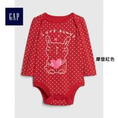 Gap女嬰兒 卡通圖案長袖包屁衣 400146-摩登紅色