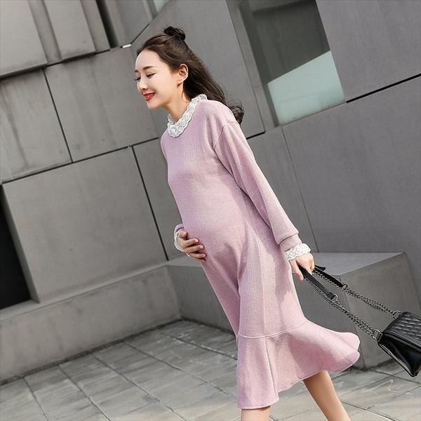 漂亮小媽咪 蕾絲洋裝 【D6205】 拼接 毛衣 高領 魚尾裙 針織 波浪裙 毛線裙 長裙 孕婦裝