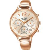 ALBA 雅柏 甜美三眼計時女錶-玫塊金/36mm VD53-X335K(AT3F18X1)