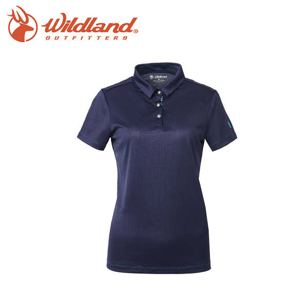 【Wildland 荒野 女咖啡紗抗UV抗菌POLO上衣《藍紫》】0A61603-80/抗紫外線/吸濕排汗/短袖/POLO