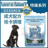*WANG*Natural Balance 特級系列《成犬低卡調理配方》28LB【70728】