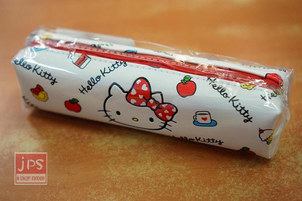 Hello Kitty 小巧 皮革 筆袋 白