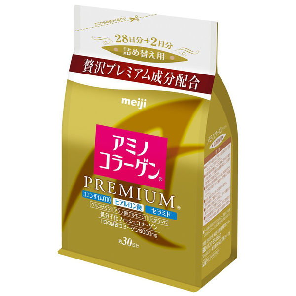 Meiji 日本明治 日本熱銷NO.1 膠原蛋白粉補充包袋裝214g 白金尊爵版黃金版 添加Q10及玻尿酸 PG美妝