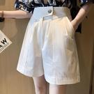 200斤胖mm褲子女高腰顯瘦休閒褲大碼寬鬆闊腿短褲薄款西裝五分褲 果果輕時尚