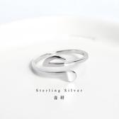 個性極簡音符指環s925純銀戒指chic氣質女款音樂符號開口銀戒飾品