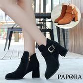 靴子.氣質絨面金釦短靴【KN9528】黑色/棕色