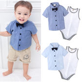 紳士2件套 領結襯衫 短袖 上衣 無袖 包屁衣 小花童 男寶寶 小紳士 Augelute Baby 60131