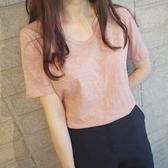 優一居 寬鬆純棉t恤短袖女新品粉紅色半袖百搭體恤衫女款上衣