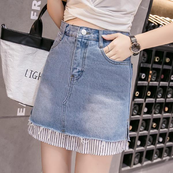 VK精品服飾 韓國風假襯衫假兩件套毛邊牛仔裙單品短裙